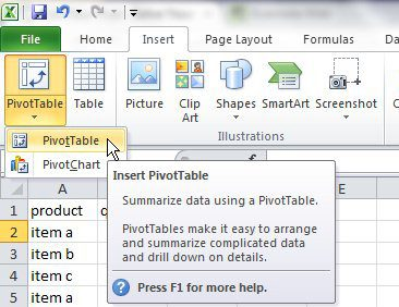 Select pivot table from the Insert menu