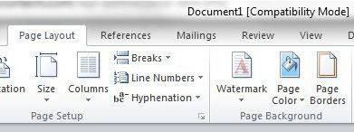 open the page borders for Microsoft Word menu
