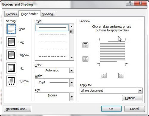 page borders for Microsoft Word menu