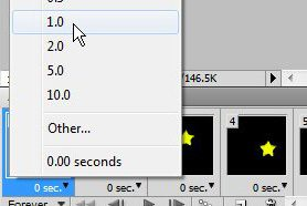 set the frame time for each frame in your animated GIF in Photoshop CS5