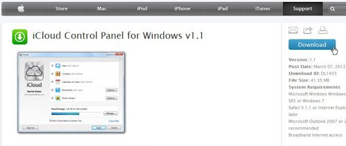 download icloud control panel to configure icloud on a windows pc