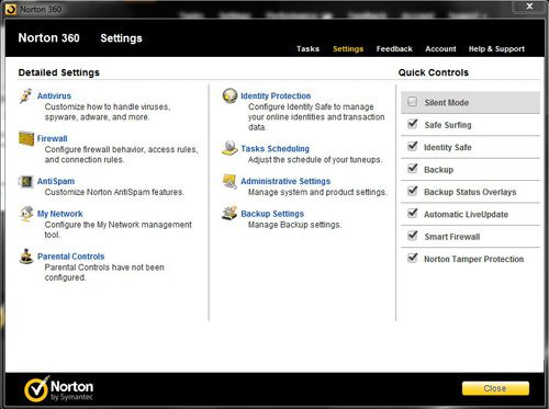 open the settings menu to configure norton 360 firewall settings
