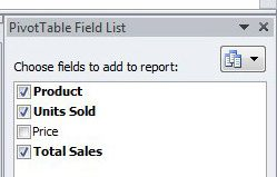 select the columns to include in the pivot table