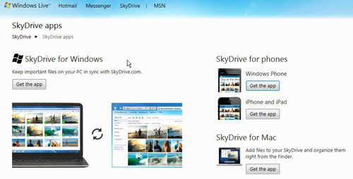 select the skydrive folder in windows 7 option