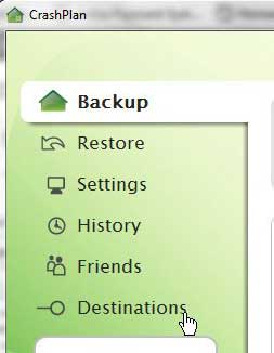 select your backup destination