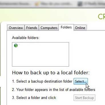 select the skydrive folder in crashplan
