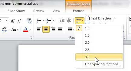 how to change line spacing in powerpoint 2010