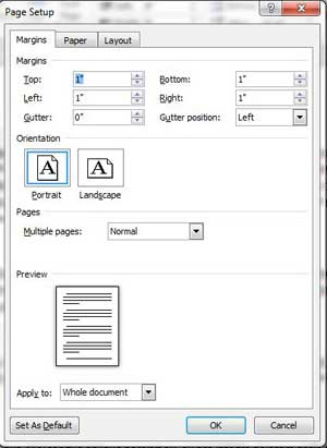 how to change page margins in microsoft word 2010