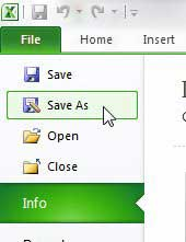 use the save as command in excel