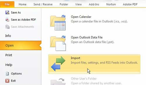 open the import tool in outlook 2010