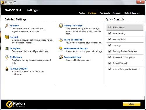 norton 360 settings menu