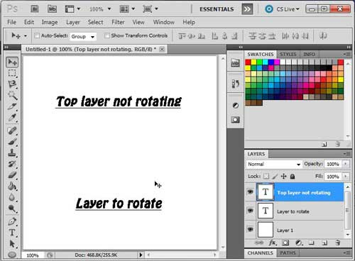 open the image with that layer that you want to rotate in photoshop cs5