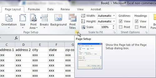 open the page setup window to repeat rows in excel 2010