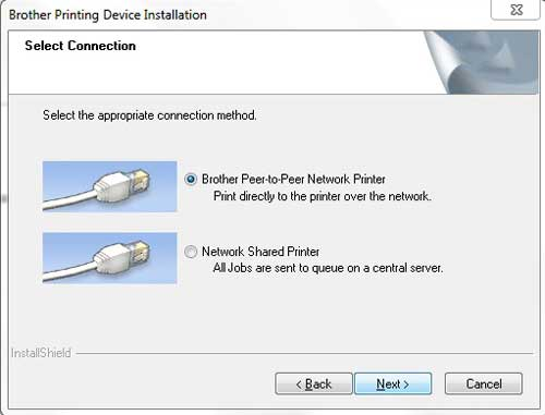 choose the peer to peer network printer option