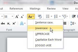 how to convert capital letters to small letters in word 2010