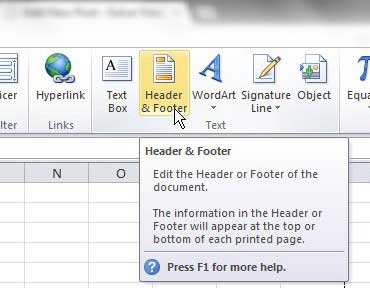 How to write header in excel 2010