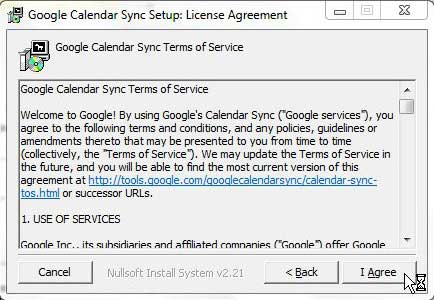 google calendar sync license agreement