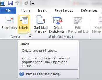 printing on labels from word