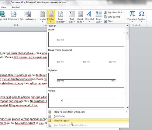 how to remove a footer from microsoft word 2010