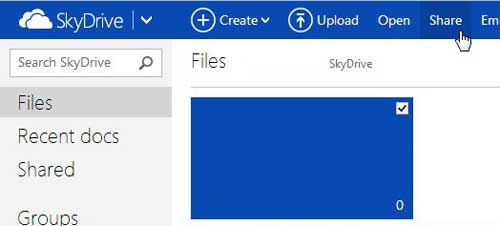 select the file, then click Share