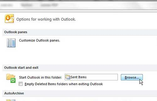 set outlook 2010 to open to the inbox