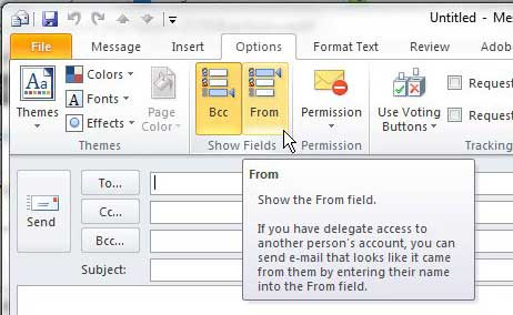 how to display the from field in outlook 2010