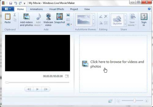open a file in windows live movie maker