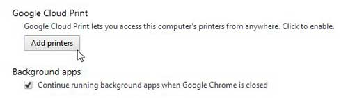 how to enable google chrome cloud print