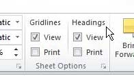 how to hide row and column headings in excel 2010