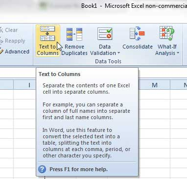 how to split data in one column to two columns in excel 2010