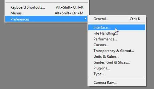 interface screen on photoshop preferences menu