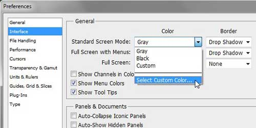 change the photoshop cs5 background screen color