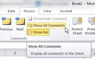 how to show comments in excel
