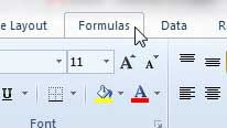 the formulas ribbon tab in excel 2010