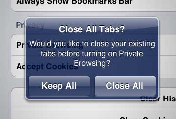 keep all or close all safari tabs ipad