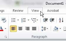 word 2010 view tab