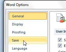 save options on word options menu