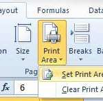 set selected cells as print area in excel 2010