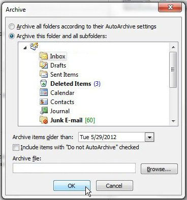 how to delete old emails in outlook