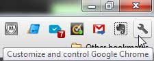 customize and control google chrome button