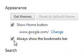 how to hide the bookmark bar in google chrome