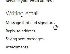 message font and signature menu