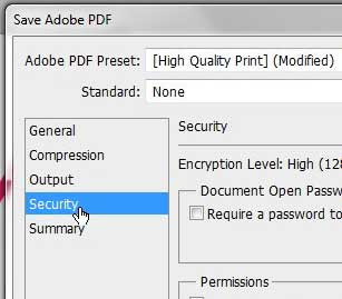 security menu on pdf save menu