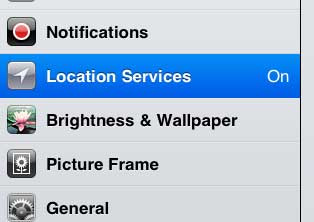 location services menu on ipad