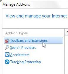 choose ie9 add on type