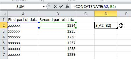 how do i combine multiple columns into one column in excel 2010