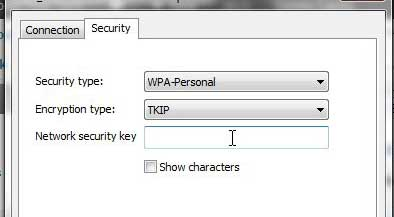 how to change a wireless network security key in windows 7