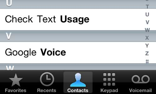 iphone 5 contacts menu
