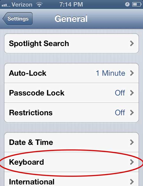 iphone 5 keyboard settings