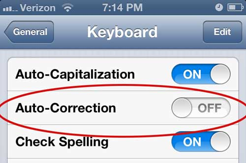 how to turn off auto correct for text messaging on the iphone 5